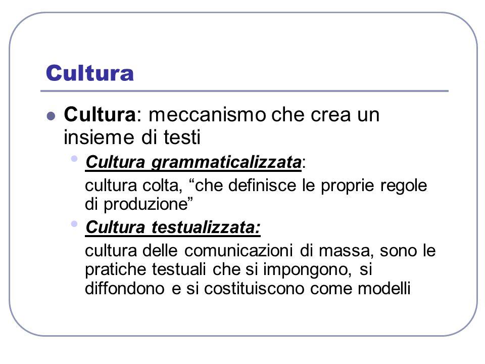 Cultura Cultura: meccanismo che crea un insieme di testi Cultura grammaticalizzata: cultura colta, che definisce le proprie regole di produzione Cultu