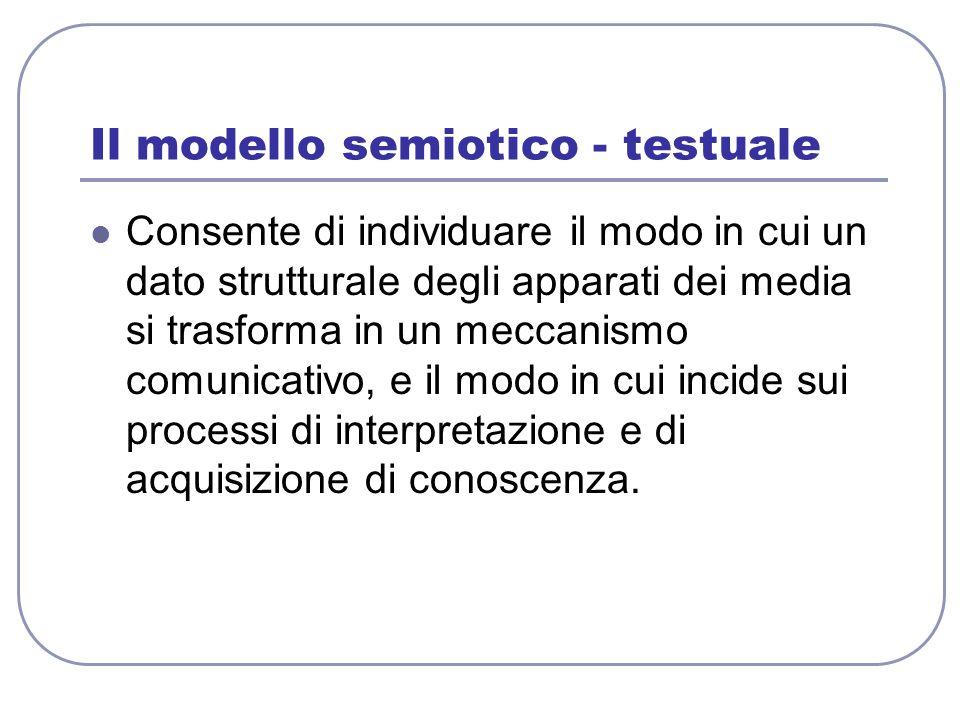 Il modello semiotico - testuale Consente di individuare il modo in cui un dato strutturale degli apparati dei media si trasforma in un meccanismo comu