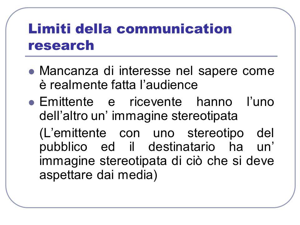 Limiti della communication research Mancanza di interesse nel sapere come è realmente fatta laudience Emittente e ricevente hanno luno dellaltro un im