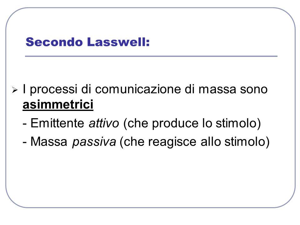 I processi di comunicazione di massa sono asimmetrici - Emittente attivo (che produce lo stimolo) - Massa passiva (che reagisce allo stimolo) Secondo