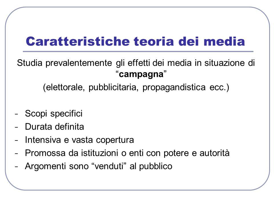 Caratteristiche teoria dei media Studia prevalentemente gli effetti dei media in situazione dicampagna (elettorale, pubblicitaria, propagandistica ecc