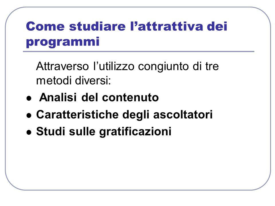 Come studiare lattrattiva dei programmi Attraverso lutilizzo congiunto di tre metodi diversi: Analisi del contenuto Caratteristiche degli ascoltatori
