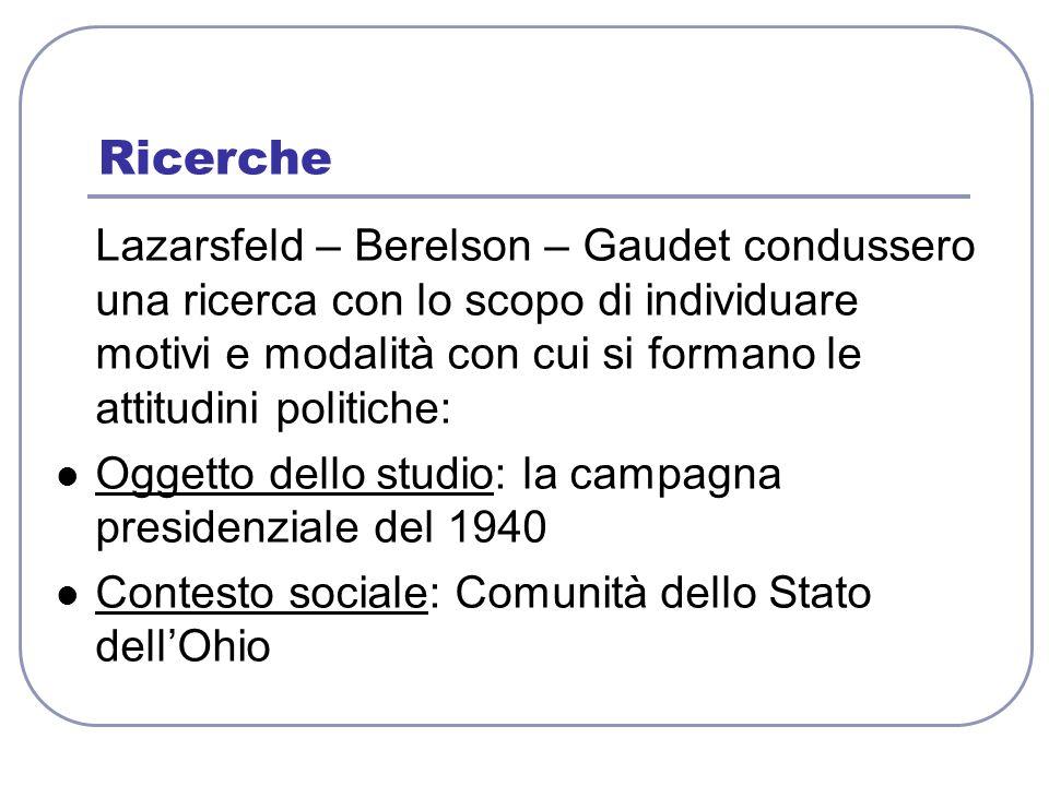 Lazarsfeld – Berelson – Gaudet condussero una ricerca con lo scopo di individuare motivi e modalità con cui si formano le attitudini politiche: Oggett