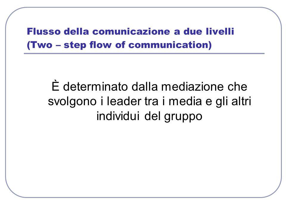 Flusso della comunicazione a due livelli (Two – step flow of communication) È determinato dalla mediazione che svolgono i leader tra i media e gli alt