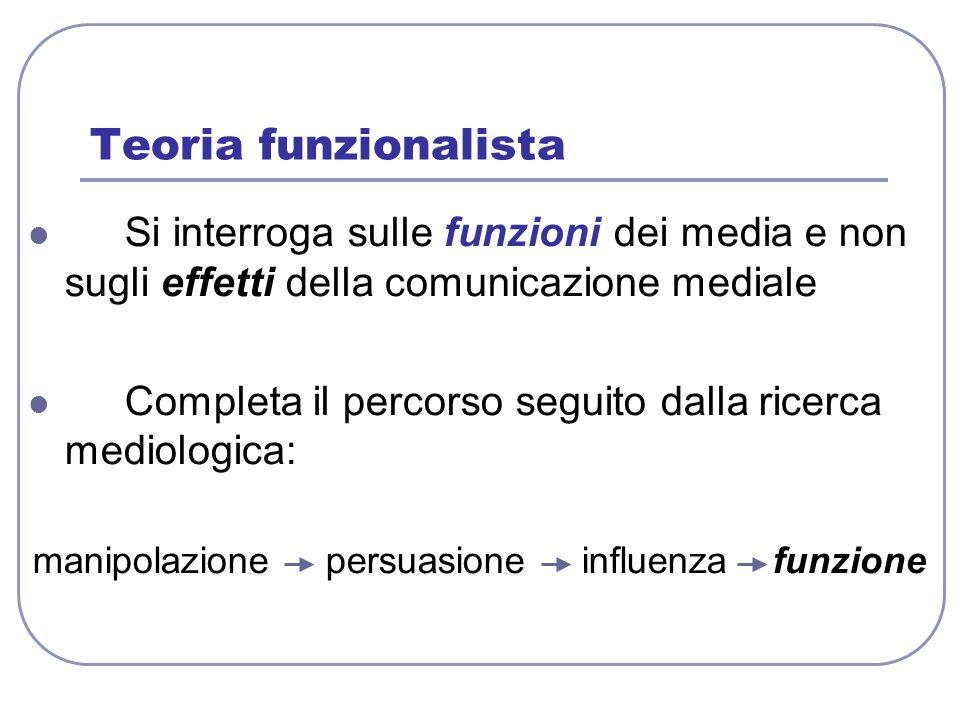 Teoria funzionalista Si interroga sulle funzioni dei media e non sugli effetti della comunicazione mediale Completa il percorso seguito dalla ricerca