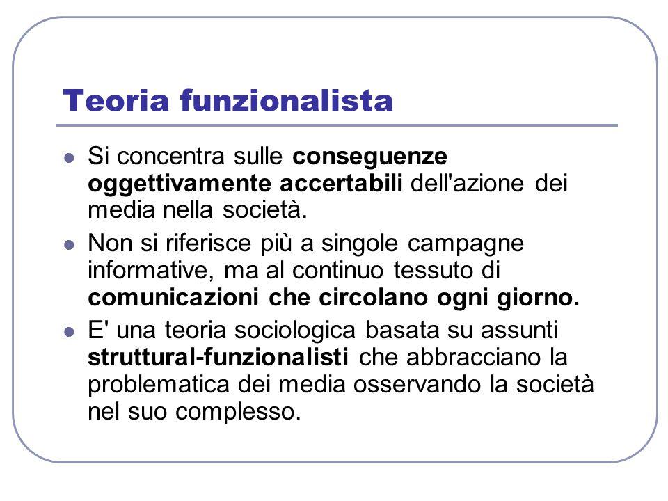 Teoria funzionalista Si concentra sulle conseguenze oggettivamente accertabili dell'azione dei media nella società. Non si riferisce più a singole cam