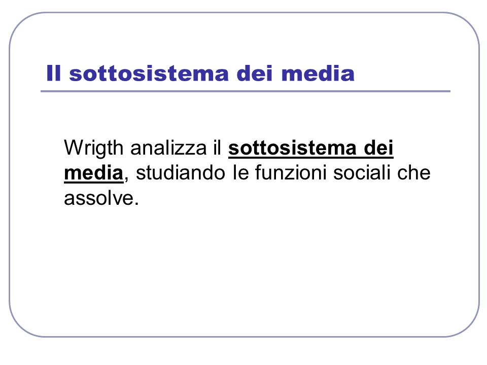 Il sottosistema dei media Wrigth analizza il sottosistema dei media, studiando le funzioni sociali che assolve.