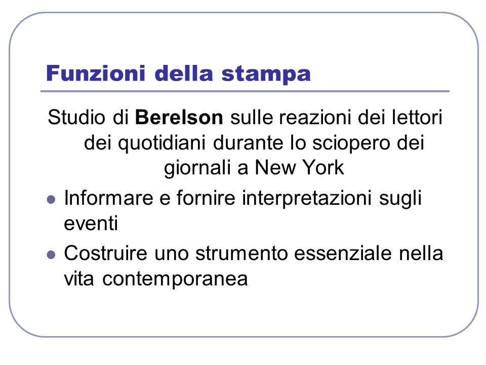 Funzioni della stampa Studio di Berelson sulle reazioni dei lettori dei quotidiani durante lo sciopero dei giornali a New York Informare e fornire int