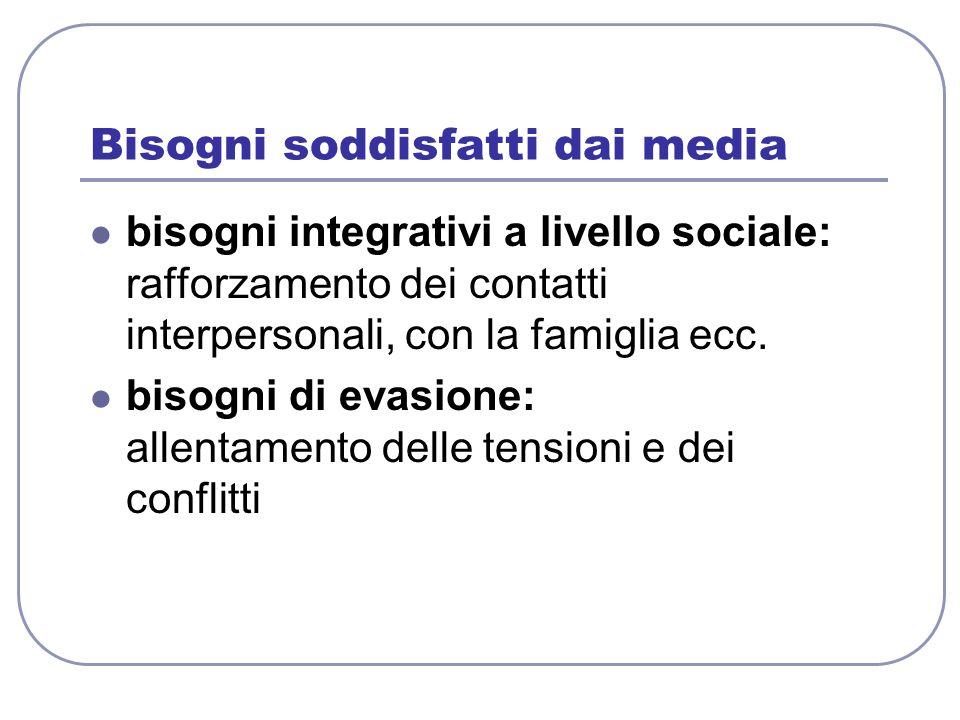 Bisogni soddisfatti dai media bisogni integrativi a livello sociale: rafforzamento dei contatti interpersonali, con la famiglia ecc. bisogni di evasio