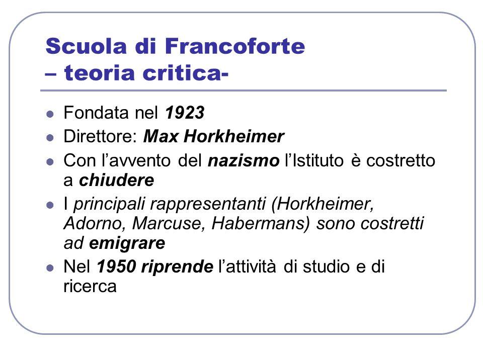 Scuola di Francoforte – teoria critica- Fondata nel 1923 Direttore: Max Horkheimer Con lavvento del nazismo lIstituto è costretto a chiudere I princip