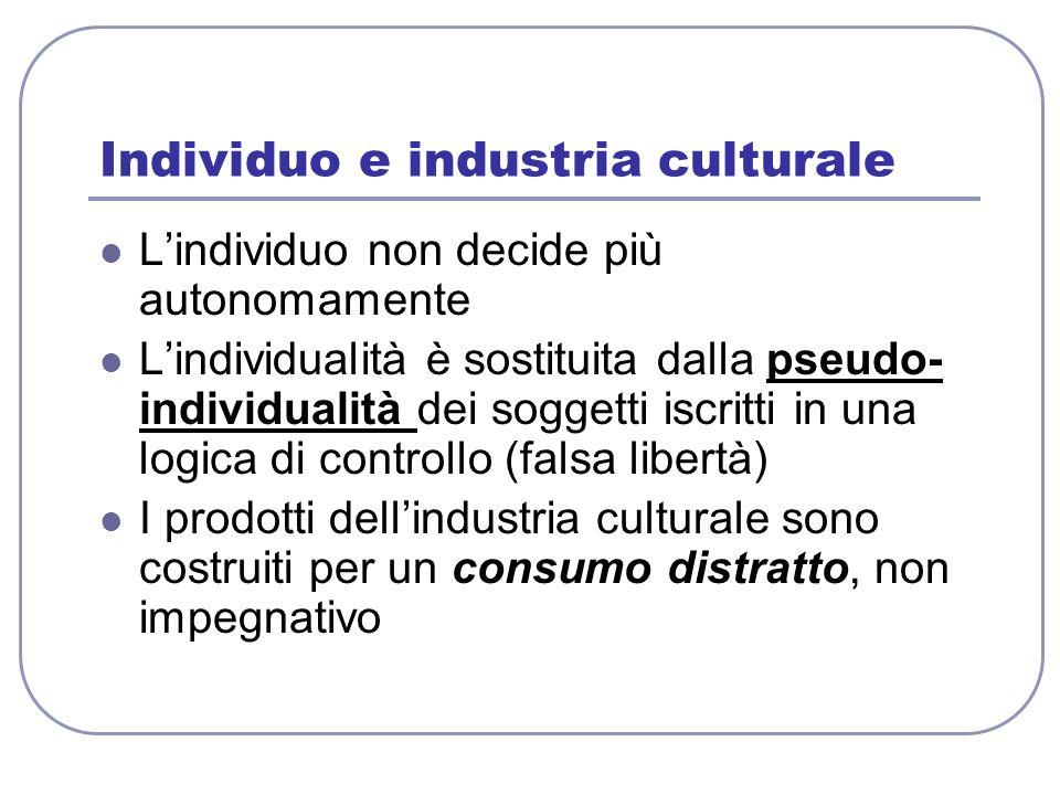 Individuo e industria culturale Lindividuo non decide più autonomamente Lindividualità è sostituita dalla pseudo- individualità dei soggetti iscritti