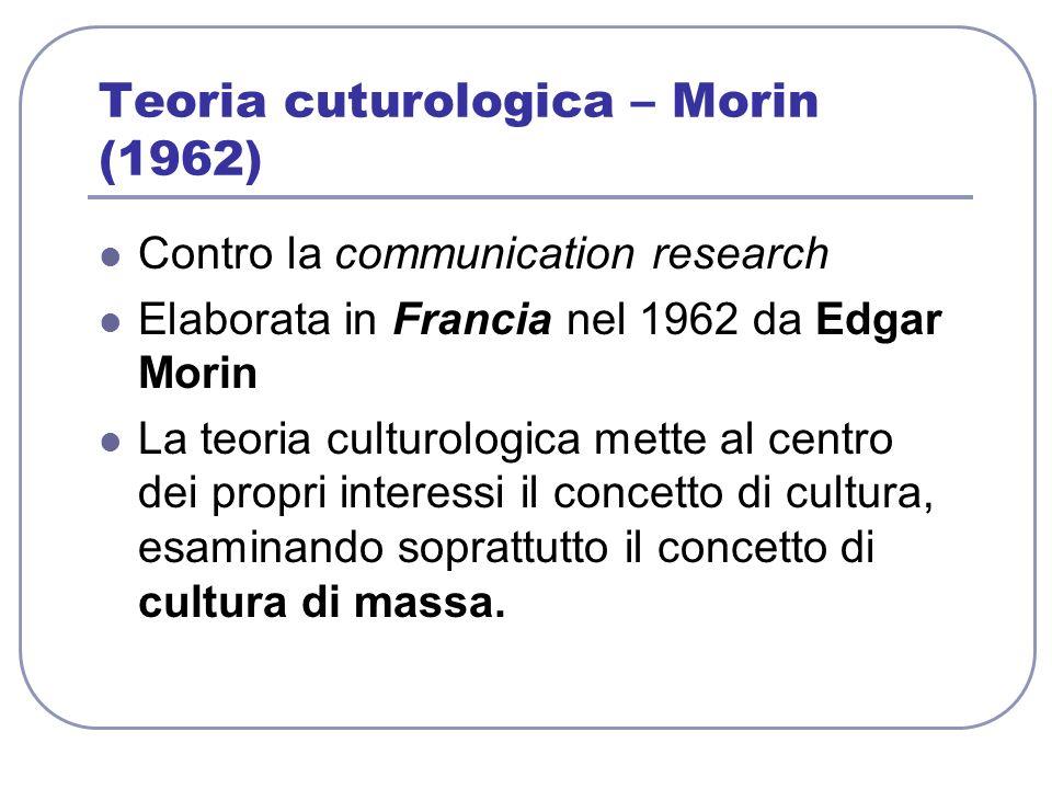 Teoria cuturologica – Morin (1962) Contro la communication research Elaborata in Francia nel 1962 da Edgar Morin La teoria culturologica mette al cent