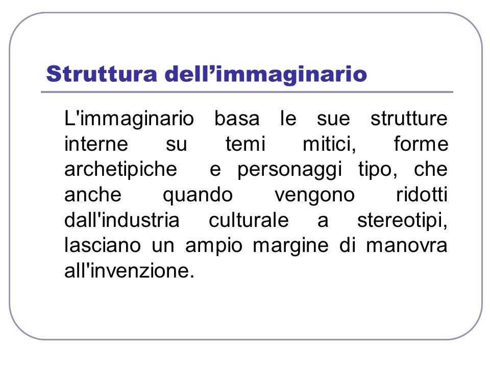 Struttura dellimmaginario L'immaginario basa le sue strutture interne su temi mitici, forme archetipiche e personaggi tipo, che anche quando vengono r