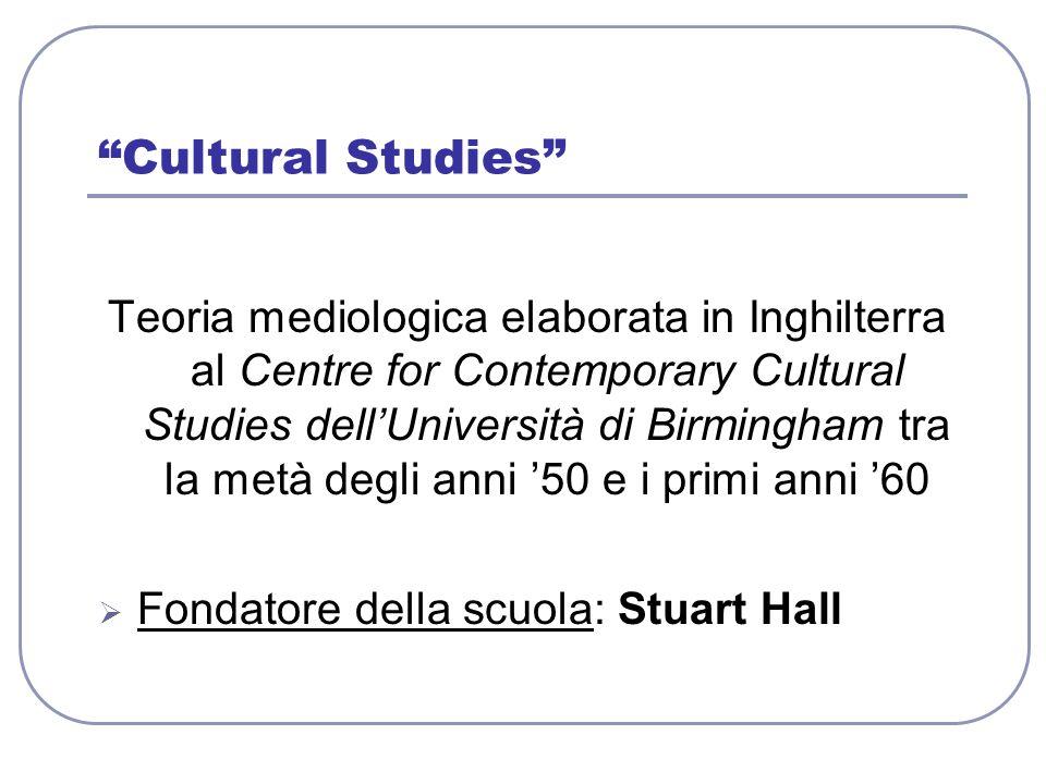 Cultural Studies Teoria mediologica elaborata in Inghilterra al Centre for Contemporary Cultural Studies dellUniversità di Birmingham tra la metà degl