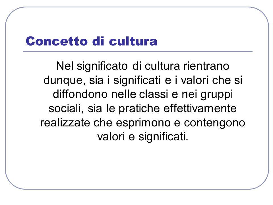 Concetto di cultura Nel significato di cultura rientrano dunque, sia i significati e i valori che si diffondono nelle classi e nei gruppi sociali, sia