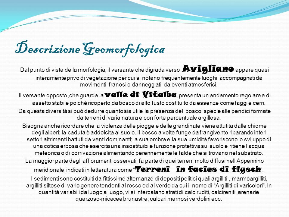 Descrizione Geomorfologica Dal punto di vista della morfologia, il versante che digrada verso Avigliano appare quasi interamente privo di vegetazione