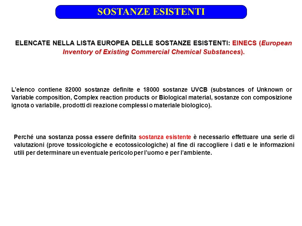 ELENCATE NELLA LISTA EUROPEA DELLE SOSTANZE ESISTENTI: EINECS (European Inventory of Existing Commercial Chemical Substances). SOSTANZE ESISTENTI Lele