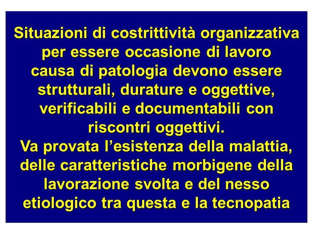 Situazioni di costrittività organizzativa per essere occasione di lavoro causa di patologia devono essere strutturali, durature e oggettive, verificabili e documentabili con riscontri oggettivi.