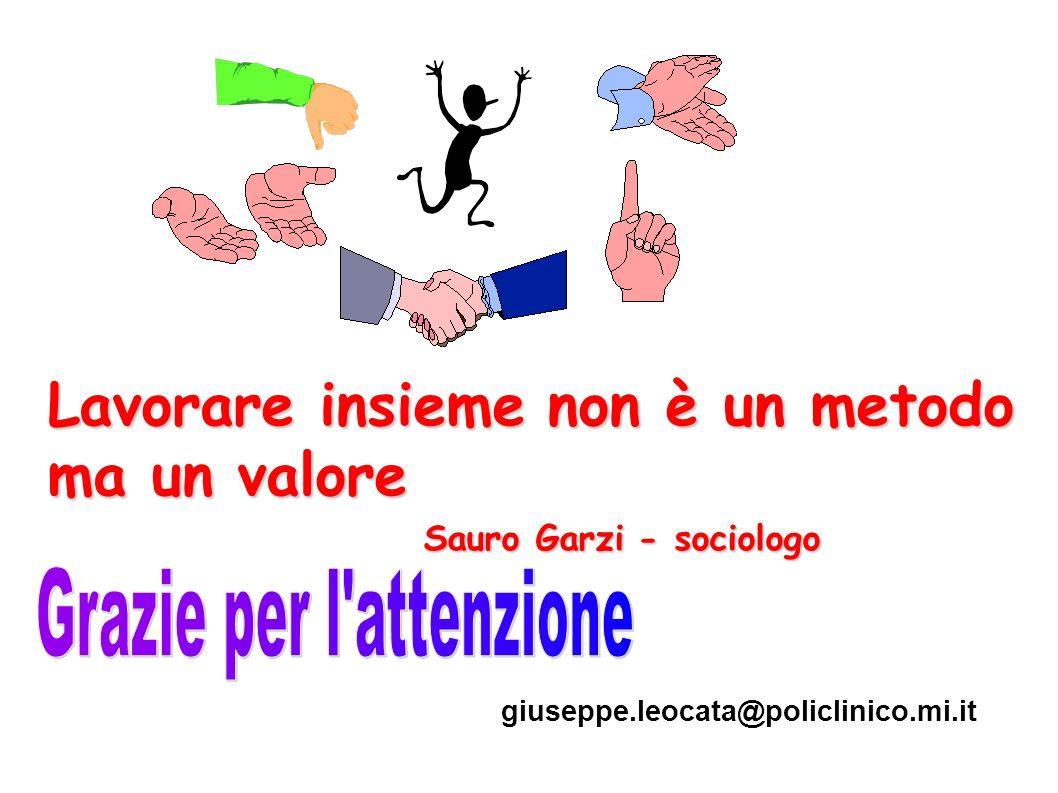Lavorare insieme non è un metodo ma un valore Sauro Garzi - sociologo Sauro Garzi - sociologo giuseppe.leocata@policlinico.mi.it