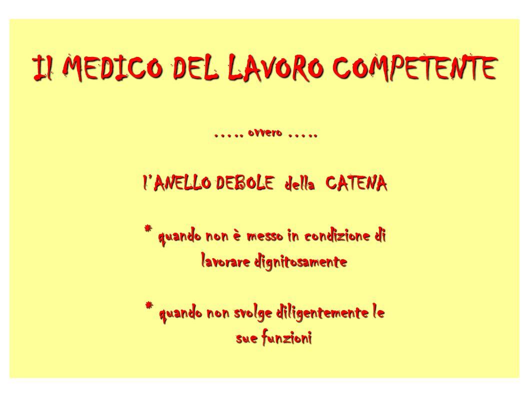 Il MEDICO DEL LAVORO COMPETENTE …..ovvero …..
