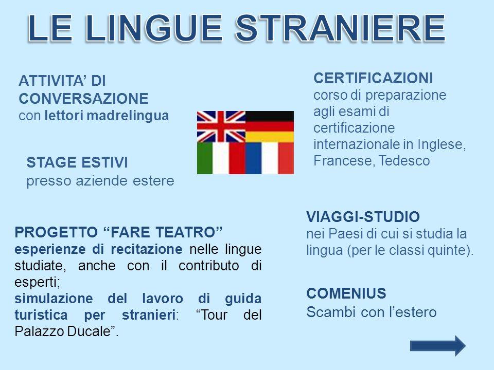 PROGETTO FARE TEATRO esperienze di recitazione nelle lingue studiate, anche con il contributo di esperti; simulazione del lavoro di guida turistica pe