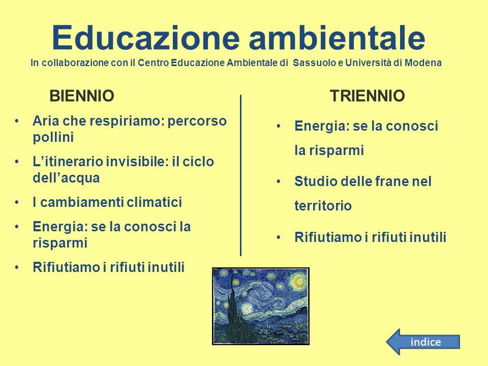 Educazione ambientale In collaborazione con il Centro Educazione Ambientale di Sassuolo e Università di Modena Aria che respiriamo: percorso pollini L