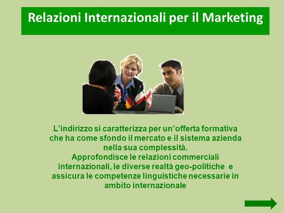 Relazioni Internazionali per il Marketing Lindirizzo si caratterizza per unofferta formativa che ha come sfondo il mercato e il sistema azienda nella