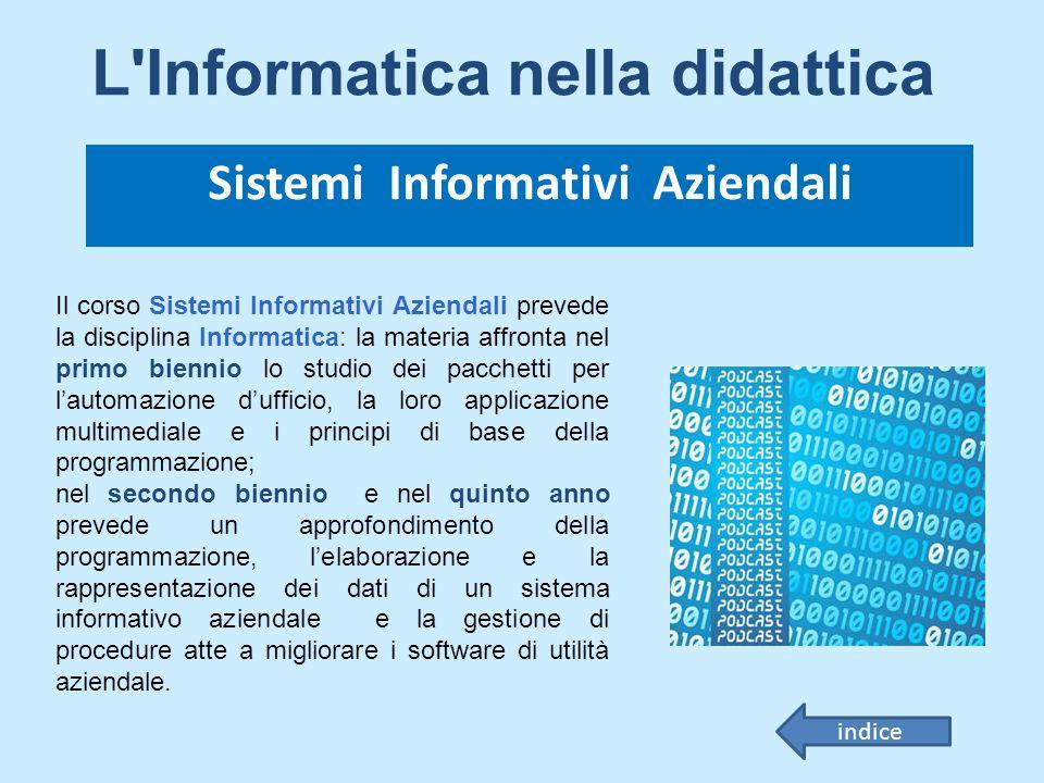 Il corso Sistemi Informativi Aziendali prevede la disciplina Informatica: la materia affronta nel primo biennio lo studio dei pacchetti per lautomazio
