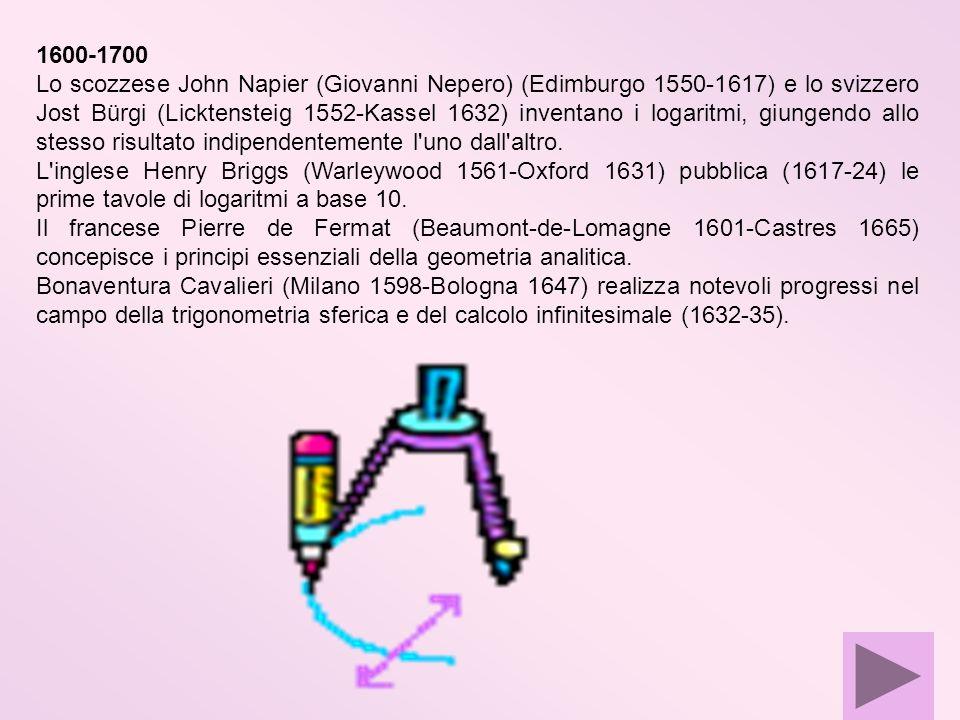 1600-1700 Lo scozzese John Napier (Giovanni Nepero) (Edimburgo 1550-1617) e lo svizzero Jost Bürgi (Licktensteig 1552-Kassel 1632) inventano i logarit