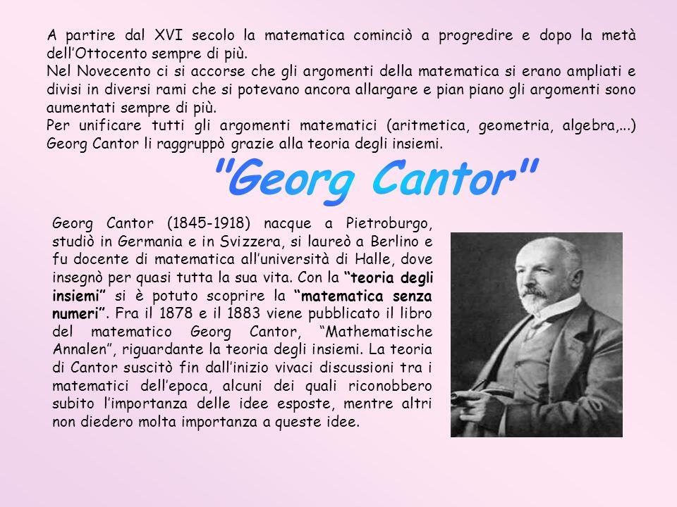 A partire dal XVI secolo la matematica cominciò a progredire e dopo la metà dellOttocento sempre di più. Nel Novecento ci si accorse che gli argomenti