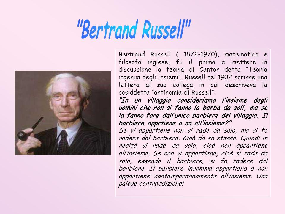 Bertrand Russell ( 1872-1970), matematico e filosofo inglese, fu il primo a mettere in discussione la teoria di Cantor detta Teoria ingenua degli insi