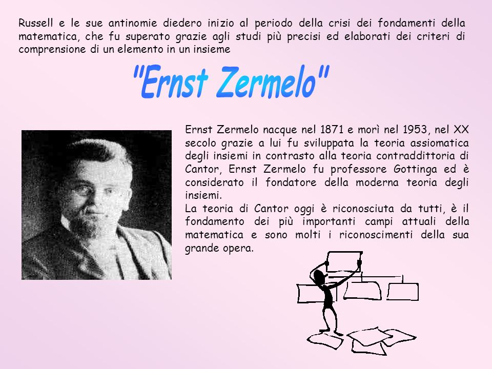 Russell e le sue antinomie diedero inizio al periodo della crisi dei fondamenti della matematica, che fu superato grazie agli studi più precisi ed ela