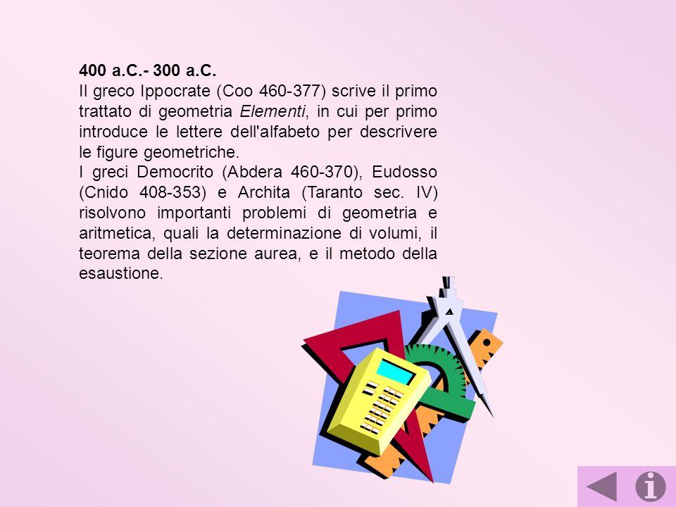 400 a.C.- 300 a.C. Il greco Ippocrate (Coo 460-377) scrive il primo trattato di geometria Elementi, in cui per primo introduce le lettere dell'alfabet