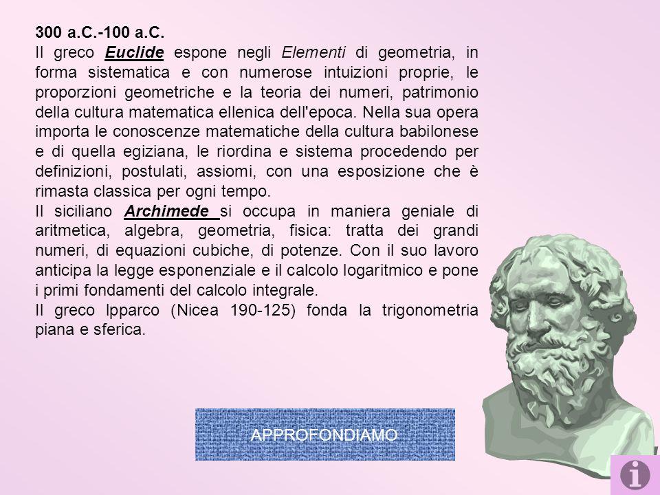 300 a.C.-100 a.C. Il greco Euclide espone negli Elementi di geometria, in forma sistematica e con numerose intuizioni proprie, le proporzioni geometri