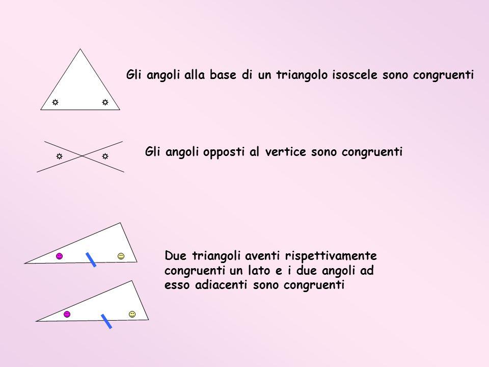 Gli angoli alla base di un triangolo isoscele sono congruenti Gli angoli opposti al vertice sono congruenti Due triangoli aventi rispettivamente congr