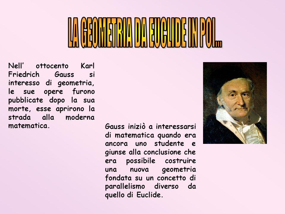 Nell ottocento Karl Friedrich Gauss si interesso di geometria, le sue opere furono pubblicate dopo la sua morte, esse aprirono la strada alla moderna