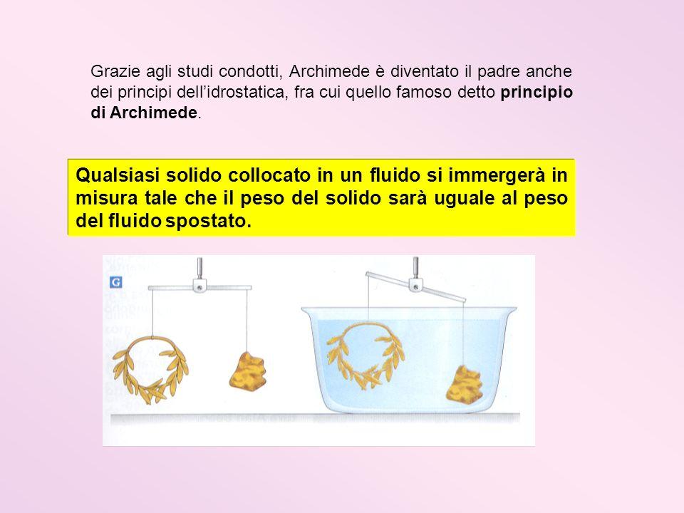Grazie agli studi condotti, Archimede è diventato il padre anche dei principi dellidrostatica, fra cui quello famoso detto principio di Archimede. Qua