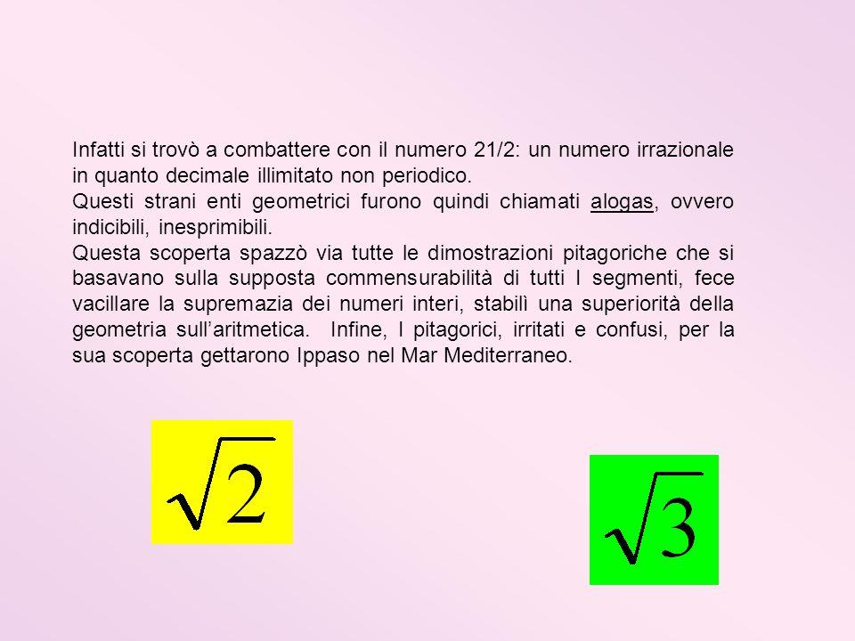 Infatti si trovò a combattere con il numero 21/2: un numero irrazionale in quanto decimale illimitato non periodico. Questi strani enti geometrici fur