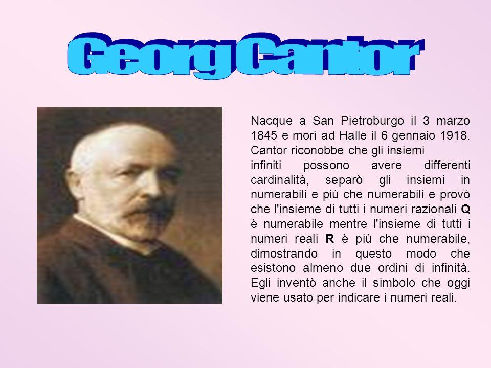Nacque a San Pietroburgo il 3 marzo 1845 e morì ad Halle il 6 gennaio 1918. Cantor riconobbe che gli insiemi infiniti possono avere differenti cardina