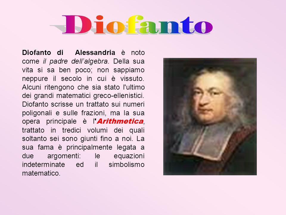 Diofanto di Alessandria è noto come il padre dellalgebra. Della sua vita si sa ben poco; non sappiamo neppure il secolo in cui è vissuto. Alcuni riten