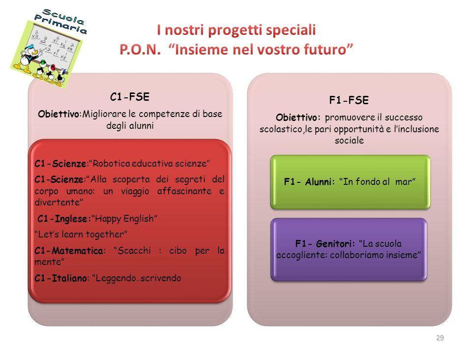C1-FSE Obiettivo:Migliorare le competenze di base degli alunni C1-Scienze:Robotica educativa scienze C1-Scienze:Alla scoperta dei segreti del corpo um