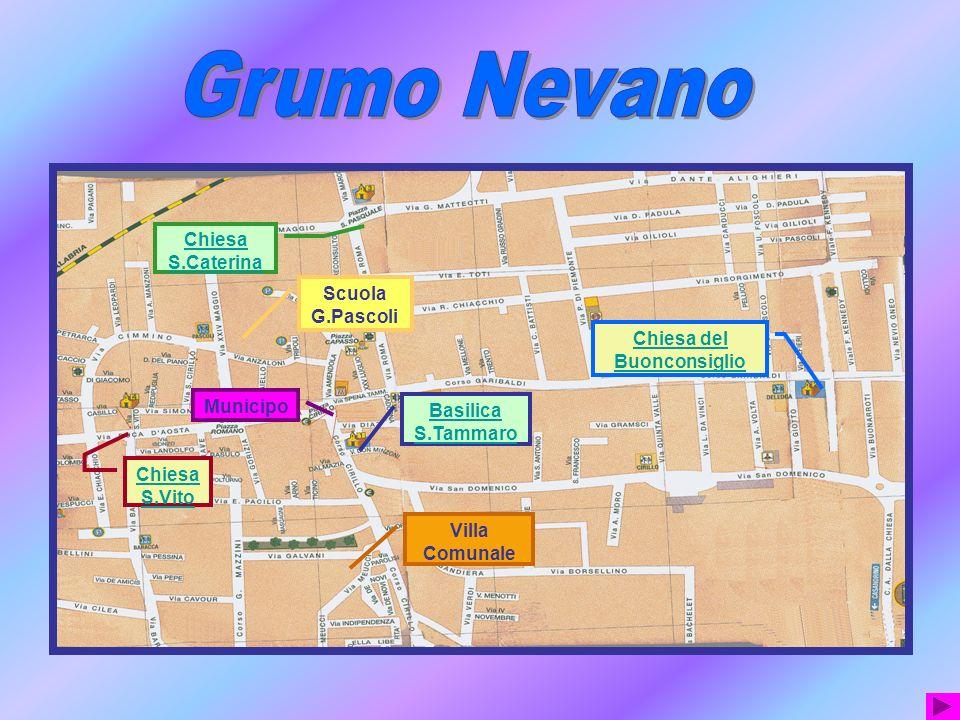 Il simbolo di Grumo Nevano è uno scudo con un viale alberato: Da un lato alberi con frutti giallo-arancio dallaltro alberi con frutti rossi.