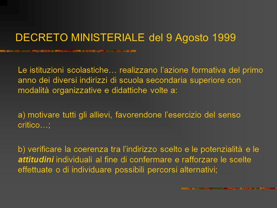 DECRETO MINISTERIALE del 9 Agosto 1999 Le istituzioni scolastiche… realizzano lazione formativa del primo anno dei diversi indirizzi di scuola seconda