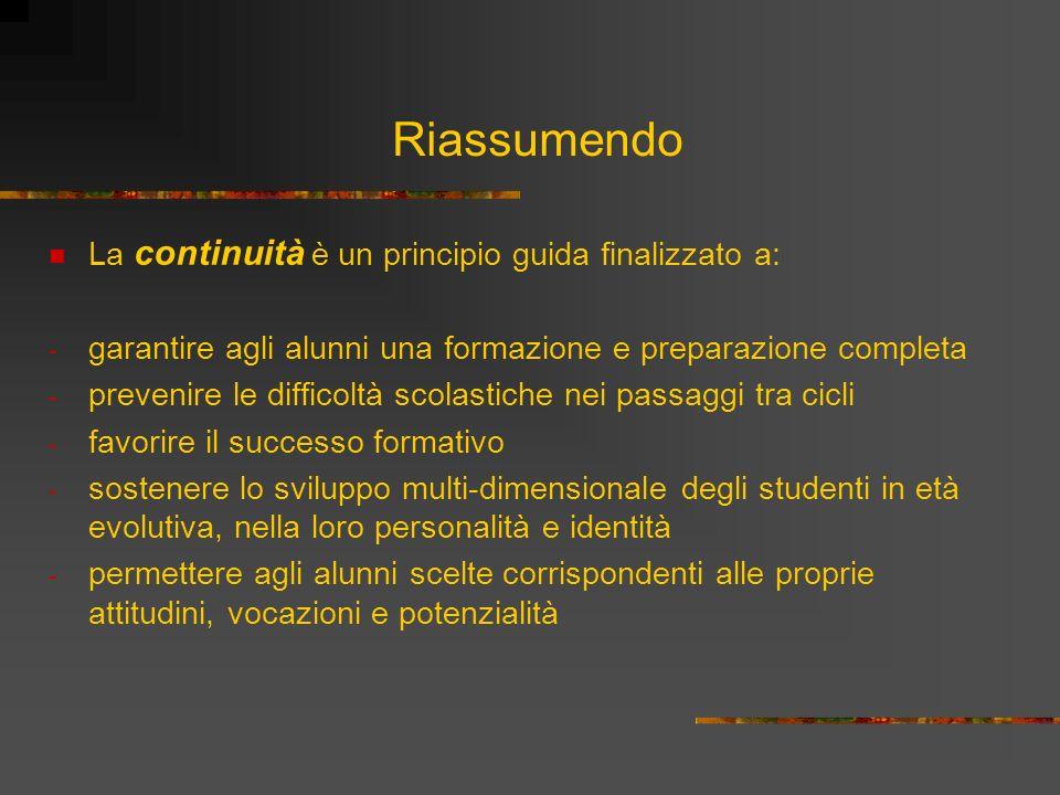 Riassumendo La continuità è un principio guida finalizzato a: - garantire agli alunni una formazione e preparazione completa - prevenire le difficoltà