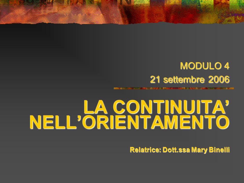 MODULO 4 21 settembre 2006 LA CONTINUITA NELLORIENTAMENTO Relatrice: Dott.ssa Mary Binelli