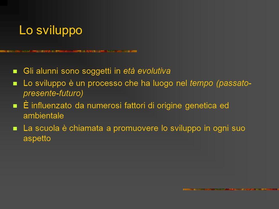 Lo sviluppo Gli alunni sono soggetti in età evolutiva Lo sviluppo è un processo che ha luogo nel tempo (passato- presente-futuro) È influenzato da num