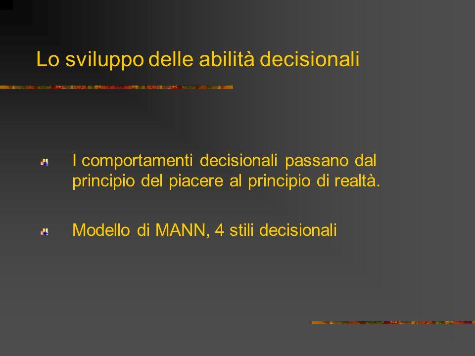 I comportamenti decisionali passano dal principio del piacere al principio di realtà. Modello di MANN, 4 stili decisionali Lo sviluppo delle abilità d