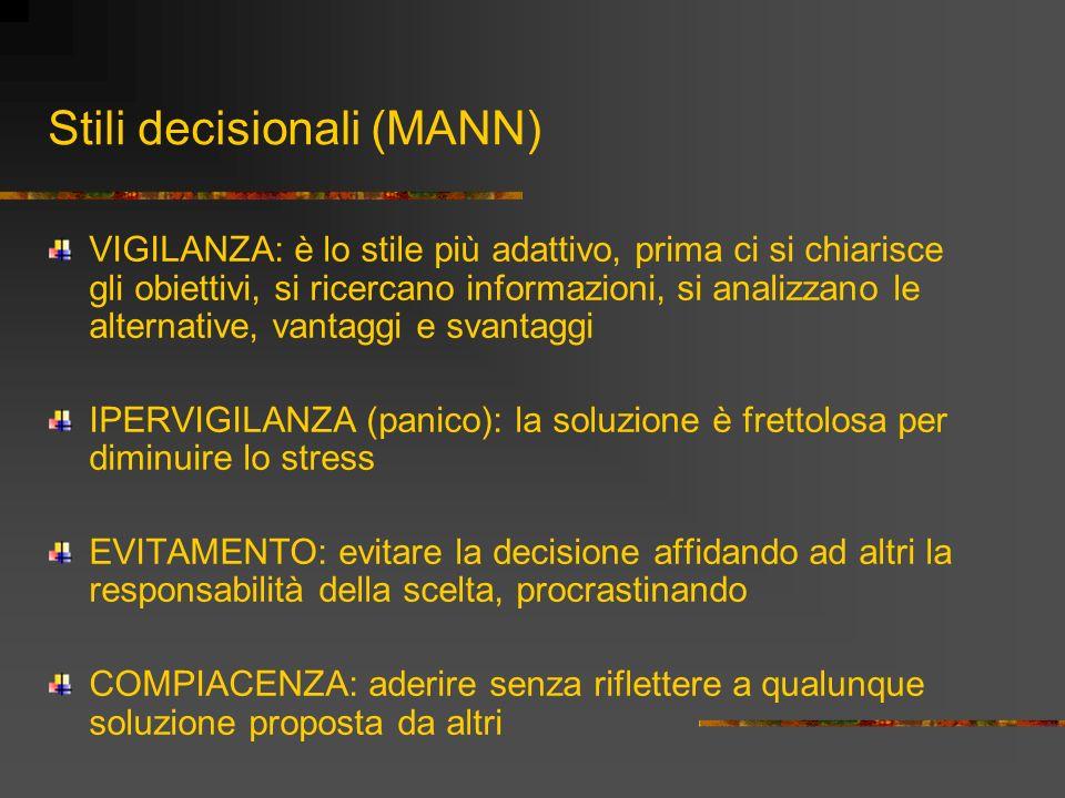 Stili decisionali (MANN) VIGILANZA: è lo stile più adattivo, prima ci si chiarisce gli obiettivi, si ricercano informazioni, si analizzano le alternat