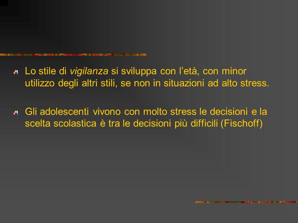Lo stile di vigilanza si sviluppa con letà, con minor utilizzo degli altri stili, se non in situazioni ad alto stress. Gli adolescenti vivono con molt