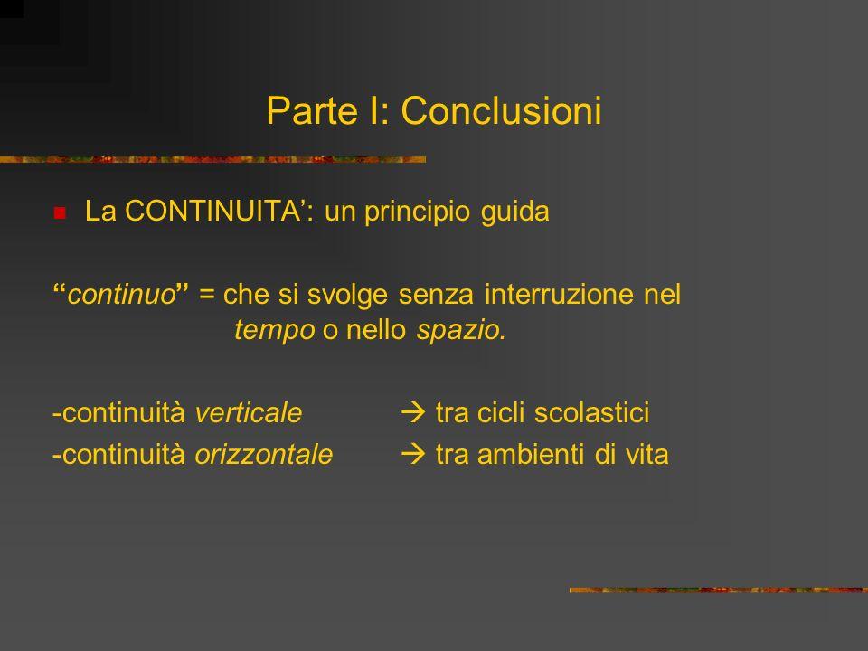 Parte I: Conclusioni La CONTINUITA: un principio guida continuo = che si svolge senza interruzione nel tempo o nello spazio. -continuità verticale tra